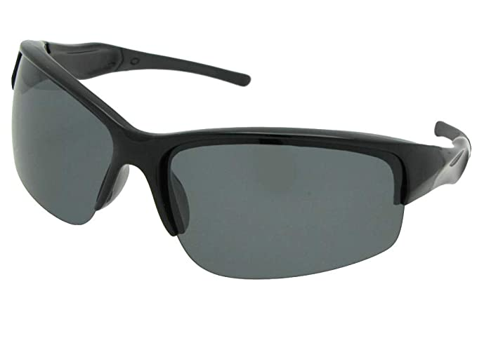 15ee425f7f3 Semi Rimless Polarized Sunglasses With Sunglass Rage Pouch (Black Frame-Gray  Lenses)