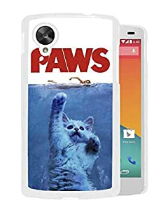 New Fashion Custom Designed Cover Case For Google Nexus 5 With Jaws Paws White Phone Case