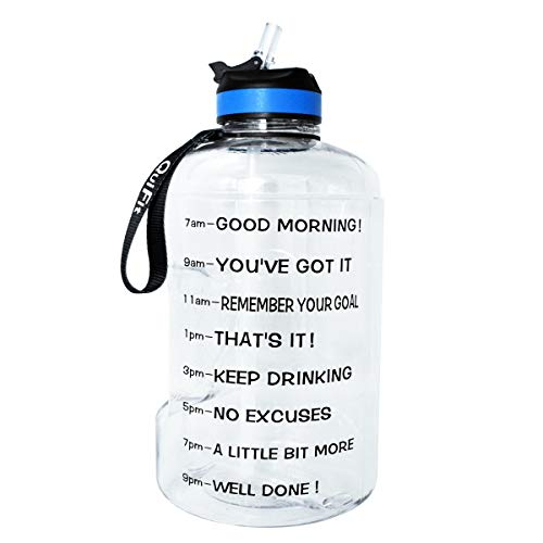 QuiFit Gallon Sport Water Bottle Wide Mouth with Straw Lid Easy Sipping 128/73/43 Ounce Motivational Time Marker Encourage You Drinking Enough Water Throughout The Day (128 Ounce Clear) (Best Water Bottle With Straw)