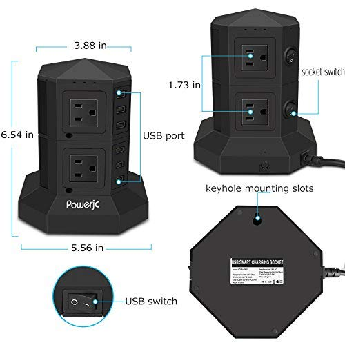 Tower Power Strip Surge Protector 8 AC Outlets with 6 USB Ports Chargers Black-Powerjc