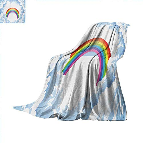 Cartoon Digital Printing Blanket Rainbow Above Fluffy Cute Romantic Clouds for Kids Nursery Art Summer Quilt Comforter 62 x 60 inch Baby Blue White Red Yellow Pink