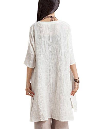 Youlee Mujeres Verano Primavera Abotonar Camisetas Lino Blusas Estilo 2 Blanco