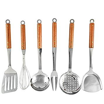 Seccuta Stainless Steel Kitchen Utensils Sets - Cooks Essentials Tools with Red Wood Handles - Utensil Set of 6