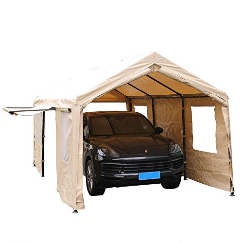 SORARA Carport 10 x 20 ft Heavy Duty Canopy Garage Car Shelter with Windows and Sidewalls, Beige