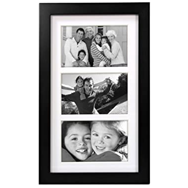Malden International Designs Matted Linear Classic Wood Picture Frame, 3 Option, 3-4x6, Black