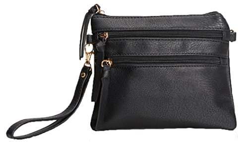 Body Cross Pocket Black Faux Leather Functional Lily Bag Jane Multi IxOYw0Un4q