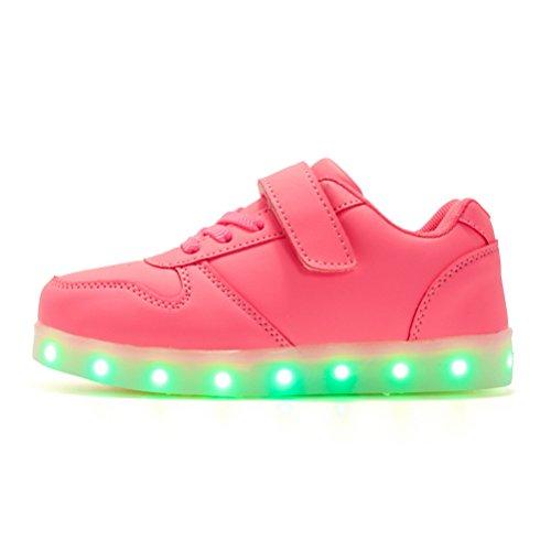 LED Sportschuhe für Herren Damen USB Aufladen 7 Lichtfarbe 11 Beleuchtenmodi Sport Schuhe Kinder Jungen Mädchen Laufschuhe Leuchtend Sneaker Turnschuhe Unisex Pink