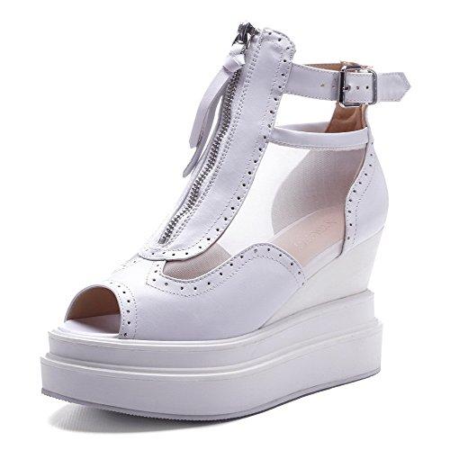 AgooLar Women's Peep Toe High-Heels Soft Material Solid Zipper Sandals White