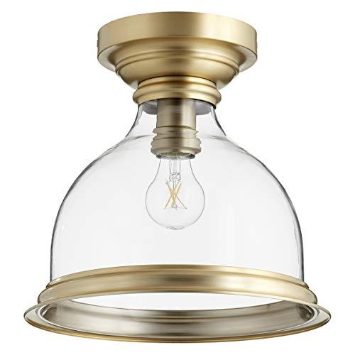 Quorum International 3193-12-80 Signature 1 Light 12 inch Aged Brass Flush Mount Ceiling -