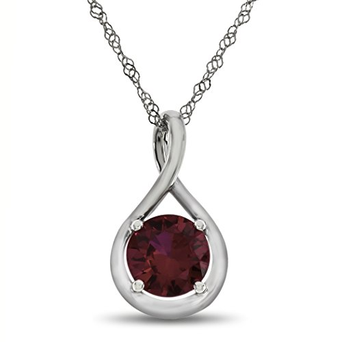 Finejewelers 7mm Round Created Ruby Twist Pendant Necklace Chain Included 10 kt White Gold