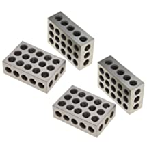 """Anytime Tools 1-2-3 Blocks Matched Pair Hardened Steel 23 Holes (1""""x2""""x3"""") 123 Set Precision Machinist Milling, 2 Pack"""