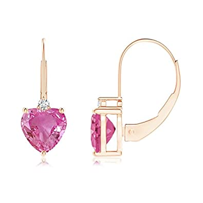 Angara Solitaire Heart Sapphire Leverback Earrings with Diamond in Rose Gold acbH8e
