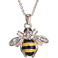 Hunputa Fashion Gold Plated Rhinestones Crystal Bee Pendant Necklace Long Sweater Chain Jewelry