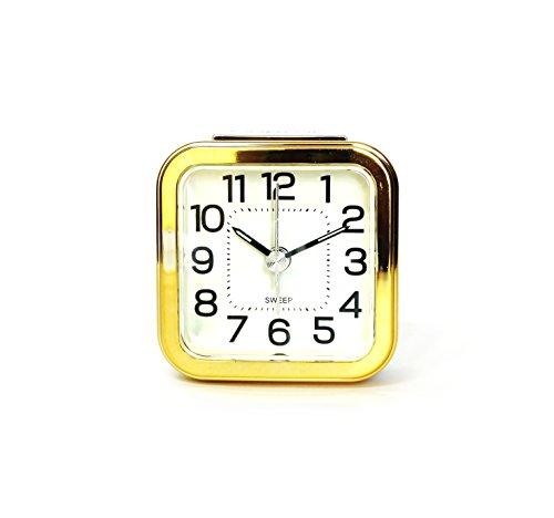Mini Traveler Alarm Clock (Gold), Quartz Movement, Simple Modern Design, 2.5
