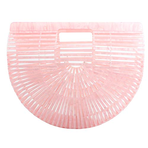 Womens Handmade Acrylic Handbag, Summer Beach Bag for Women Ark Acrylic Clutch Handbag Large Tote Bag Beach Bag (PINK)