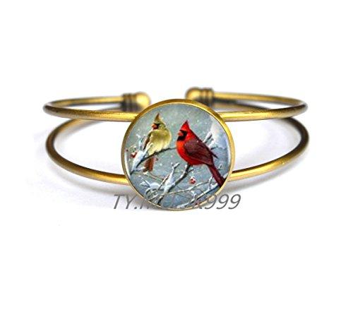 Yao0dianxku Cardinal Bird Heart Bracelets Bracelet Bronze Vintge Susan Bourdet Bracelet For Women A Good Gift.Y007 (2) ()