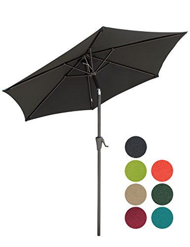 PATIOROMA 7.5 Feet Outdoor Patio Umbrella with Push-button Tilt and Crank, 6 Ribs, Polyester Canopy, Black 7.5' Crank