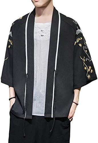 メンズ 和式パーカー カーディガン 和服 パーカー 7分袖 刺繍 大きいサイズ 5XL 多仕様