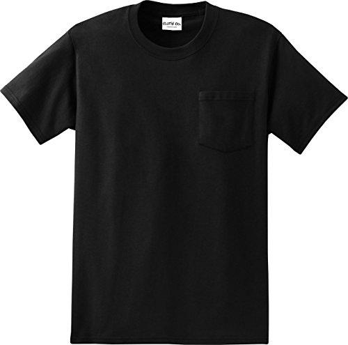 (Clothe Co. Men's Big & Tall Heavyweight 100% Cotton Short Sleeve Pocket T-Shirt, Jet Black, 3XLT)