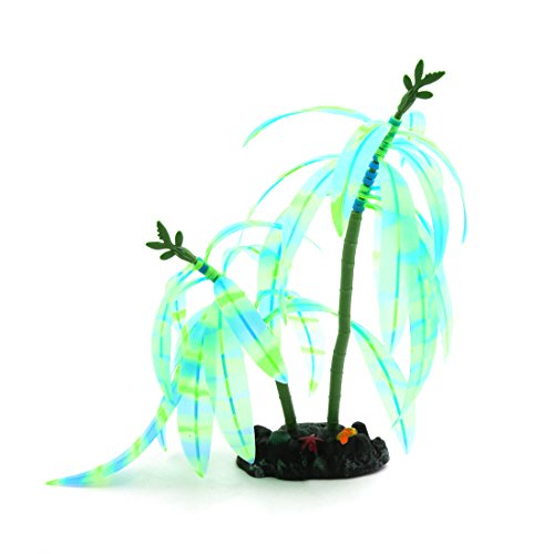 uxcell Blue Green Striped Glowing Effect Artificial Leaves Plant for Fish Tank