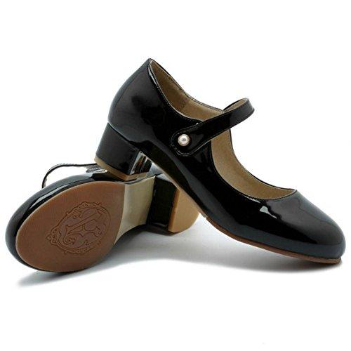 COOLCEPT Women Block Heel Court Shoes Black HHwB5zf