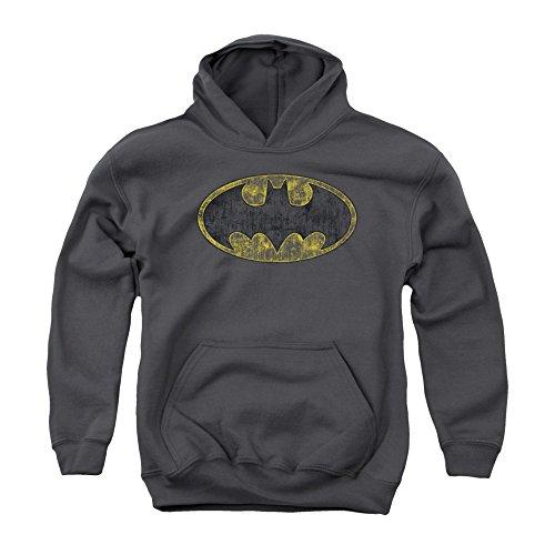 Batman DC Comics Tattered Bat Logo Vintage Style Big Boys Youth Pull-Over Hoodie