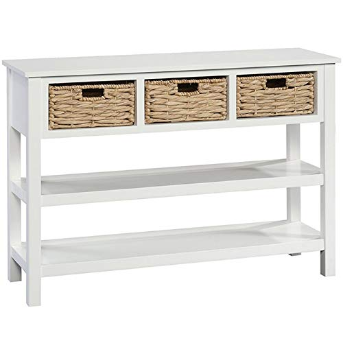 Sauder Cottage Road Console with Baskets, White finish (Console With Wicker Baskets White Table)