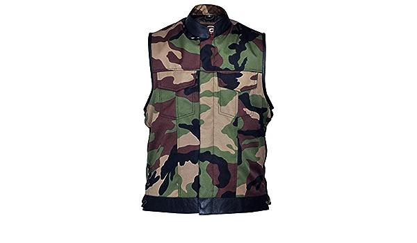 Military Camouflage /& Cowhide Leather Cut Off Mens Vest Waiscoat Gilet Biker