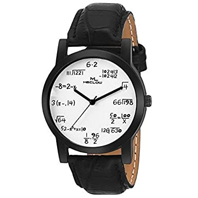 92fa355145e Buy Meclow Mathematical Equations Round Dial Leather Belt Quartz Watch For  Men  Boys (White)... Online at Low Prices in India - Amazon.in