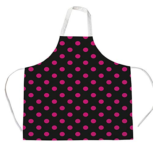 Hot Pink 3D Printed Cotton Linen Apron,Old Fashioned Polka Dots Symmetrical Pattern in Vibrant Color Classical Pop Decorative,for Cooking Baking Gardening,Black Hot Pink