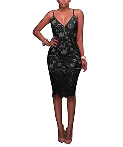 Suspender V Dress Neck Sexy Topfly Women's Bodycon Deep Black Strap Skirt Spaghetti ztxH1xqvw