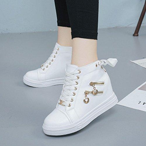 Giy Femmes Haut Top Sneakers De Mode Zip Plate-forme De Coin Décontracté Bout Rond Hauteur Accrue Sneaker Chaussures Blanc