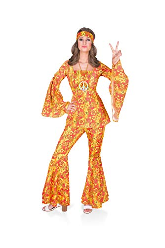 60s 70s Costume, Hippie Groovy Women Floral Top Bell Bottoms, Small