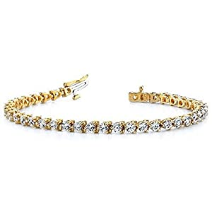 18K Yellow Gold Diamond Round Brilliant 3 Prong Set Tennis Bracelet (6.0ctw.) - Size 7.5