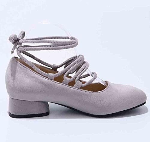 Easemax Mujeres Retro Square Toe Low Cut Self Tie Low Block Talón Bombas Zapatos Gris