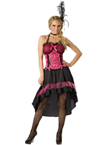 InCharacter Costumes Women's Saloon Gal 2B Adult Costume, Black/Pink, (Sexy Saloon Costumes)