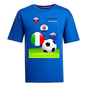 Custom Mens Cotton Short Sleeve Round Neck T-shirt,2014 Brazil FIFA World Cup teams_F blue