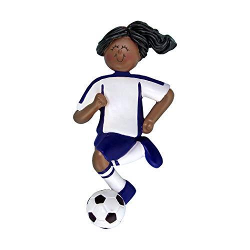 - Personalized Soccer Girl Christmas Tree Ornament 2019 - African-American Team Athlete Score Profession Ethnic High School FIFA Black Hair Grand-Daughter - Free Customization (Female Blue Uniform)