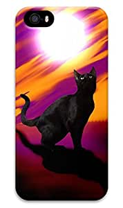 Black cat and the setting sun Abstract orchid customized mobile phone shell cover for iphone 5 5s environmental protection cheap mobile phones