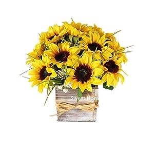Sweet Home Deco Silk Sunflower Artificial Flower Bouquet/Flower Boutonniere Wedding Flowers (Yellow Arrangement w/Wooden Vase) 61