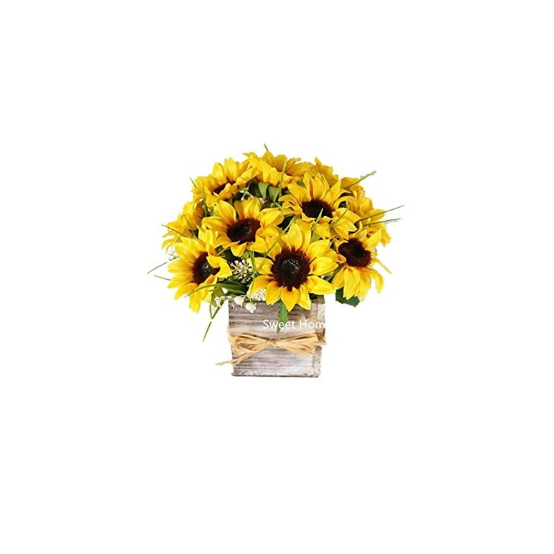 silk flower arrangements sweet home deco silk sunflower artificial flower bouquet/flower boutonniere wedding flowers (yellow arrangement w/wooden vase)