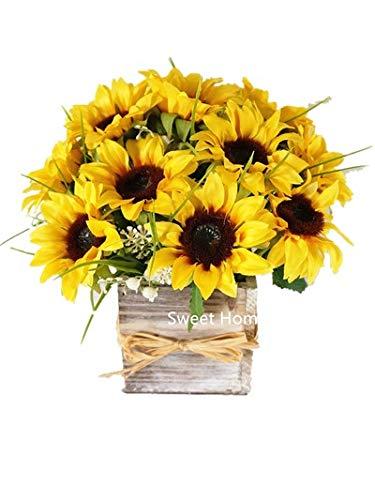 (Sweet Home Deco Silk Sunflower Artificial Flower Bouquet/Flower Boutonniere Wedding Flowers (Yellow Arrangement w/Wooden)