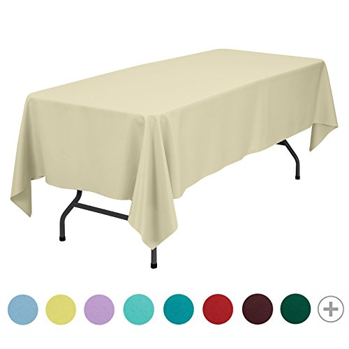 Remedios Rectangle Tablecloth Solid Color Polyester Table Cloth for Meeting Table - Wrinkle Free Dinner Tablecloth for Wedding Party Restaurant Banquet (Beige, 70x120)