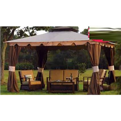 Garden Winds Replacement Canopy and Netting Set for Hampton II 10'x12' Gazebo - Riplock 350