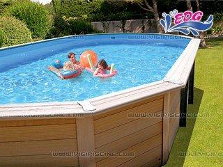 Kit piscine bois composite DAVAO Premium 7.8x4.0x1.34m EDG 103522+ ...