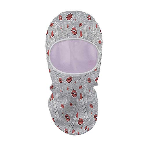 YOLIYANA Doodle Sunscreen Mask Face Gini,Make Up Pattern Lips and Lipstick Fashion Girl Theme Beauty Treatment Cosmetic Design Decorative for Outdoor,8.6
