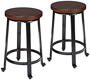 Rustic stool with weathered metal legs