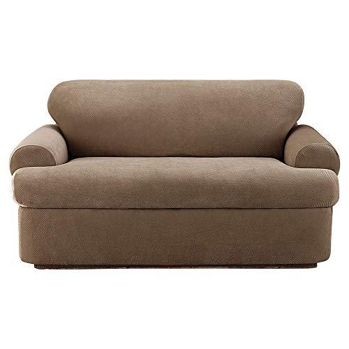 Sure Fit Stretch Pique T-Cushion Three Piece Loveseat Slipco