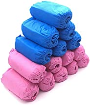 Disposable Boot & Shoe Covers,Non-Slip, Durable, Indoor,Protect Your Home, Floors and Shoes (200Pack(Blue+