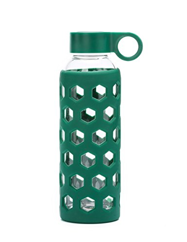 DOUYING Pyrex Glass Bottle with Silicone Sleeve 12 OZ & Stainless Steel Lid, Modern Drinking Reusable Travel Bottles, Juicing Containers, Leak-Proof Water/Beverage Bottles (Dark Green)